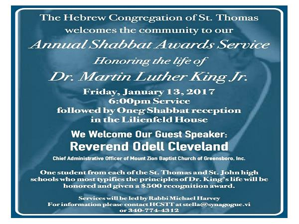 Annual Shabbat Awards Service Honoring Dr. Martin Luther King