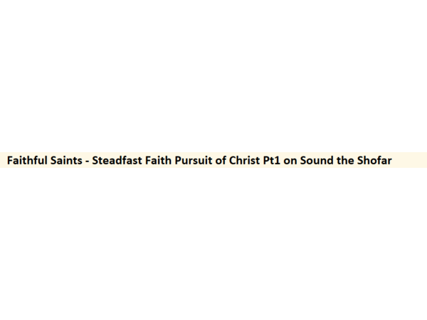 Faithful Saints - Steadfast Faith Pursuit of Christ Pt1 on Sound the Shofar