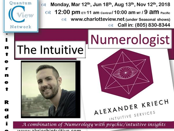 3/12/2018 ~ C View: The Intuitive Numerologist  Alexander