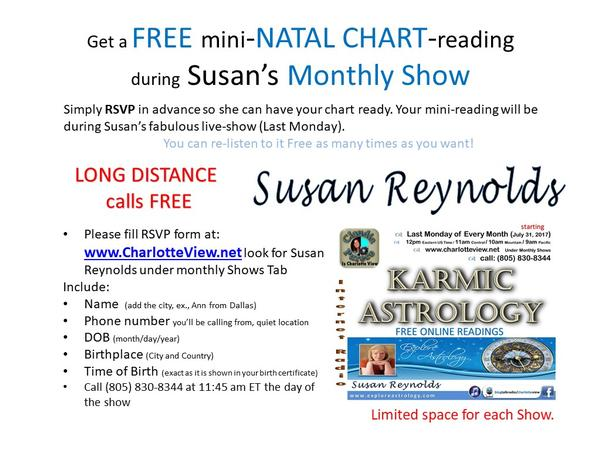 10/29/2018 ~ C View: Karmic Astrology  Susan Reynolds 10/29 by C