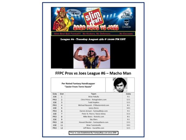 2020 FFPC Pros Vs. Joes Macho Man League #6