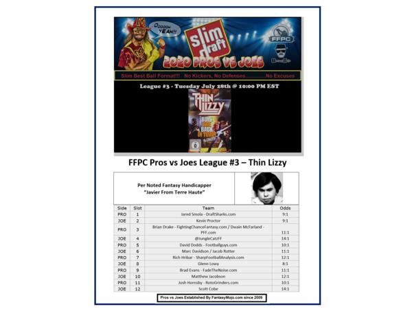 2020 FFPC Pros Vs. Joes Thin Lizzy League #3