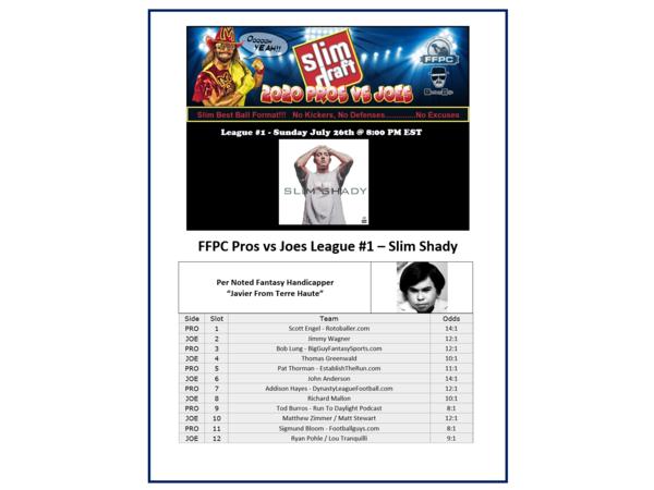 2020 FFPC Pros Vs. Joes Slim Shady League #1