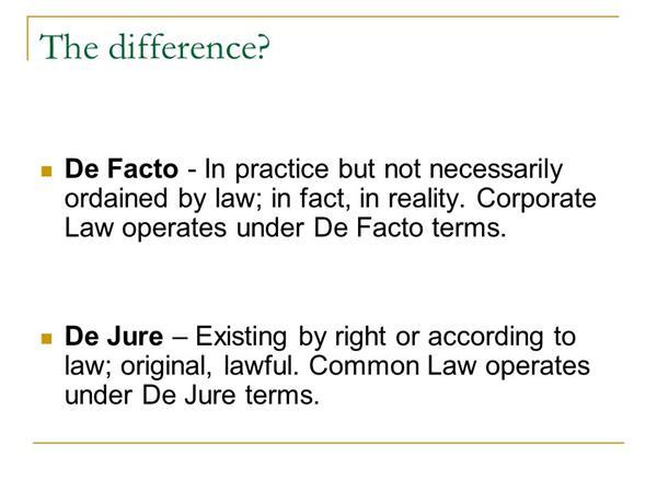 de jure and de facto